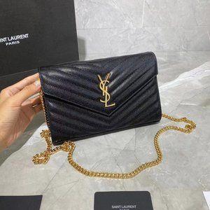 YSL Momogram Chain Wallet Black